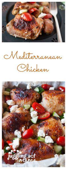 Mediterranean Chicken Thighs Sheet Pan Dinner - Juggling Act Mama