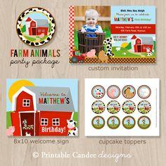Farm Animal Birthday Party Package Farm por printablecandee