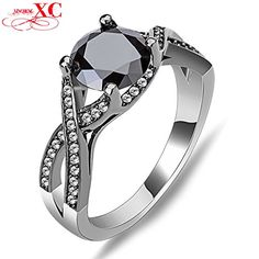 AYT Hot Sale Fine Jewelry Wedding Finger Rings Lady's Men's Fashion Black Sapphire AAA Zircon anel Black Filled Ring 6.0 >>> Want additional info? Click on the image.