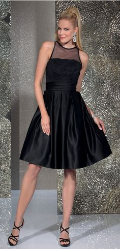 """Isabel de Mestre - Evenings Abendkleider Kollektion 2016 """"Heike"""": Kurzes Abendkleid in Schwarz für Hochzeitsgäste."""