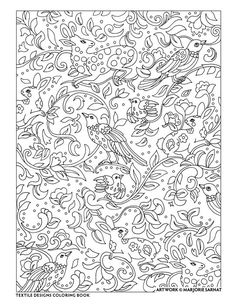 creative haven textile designs coloring book by marjorie sarnat animal tapestry - Coloring Book Paper Type