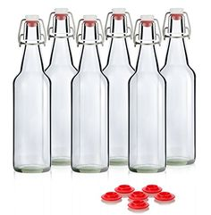 Swing Top Grolsch Glass Bottles 16oz  CLEAR  For Brewing Kombucha Kefir Beer 6 Set Bonus Gaskets *** Read more reviews of the product by visiting the link on the image.