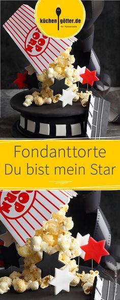 Kreative Motivtorte mit Popcorn und Kino-Optik. Popcorn, Eat Me Drink Me, Movie Party, Cake Cookies, Fondant, Cute Pictures, Bakery, Graduation, Sweets