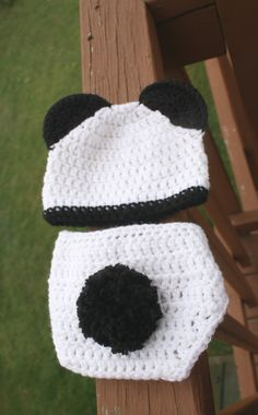 Crochet Newborn Panda Bear Outfit with Hat/Beanie and by mdelillo