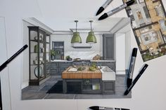 Interior design rendering of proposed kitchen extension. Drawing using promarker and fine liner pen. Interior Architecture Drawing, Interior Design Renderings, Architecture Sketchbook, Kitchen Interior, Kitchen Design, Floor Plan Sketch, Paint For Kitchen Walls, Window Seat Kitchen, Kitchen Drawing