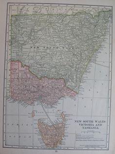 New SOUTH WALES Map Victoria TASMANIA Australia by plaindealing