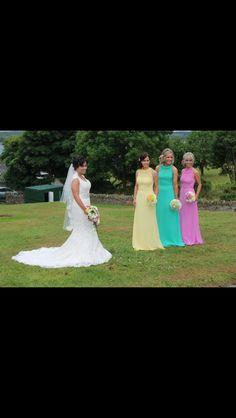 Justin alexander 8656 pastel bridesmaids, different colour bridesmaids