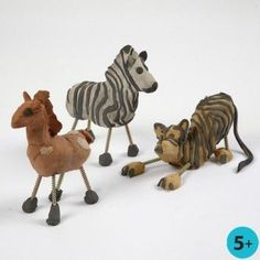 These wild animals are formed from self-hardening clay in different colours with legs and neck made from large screws. Stripes and dots may either be painted or modelled onto the clay depending on the age of the child. Fire Clay, Air Dry Clay, Clay Projects, Camel, Rooster, Polymer Clay, Colours, Shapes, Crafts