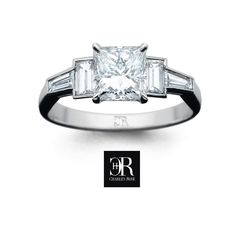 Princess Steps. A square princess cut diamond is flanked by matched emerald cuts and tapered diamonds. In 18 carat white or yellow gold. We also make to order, so visit us with your design ideas to discover Charles Rose quality and value. #diamond #engagement #love