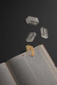 Cuboid Bookmarks, The Study, Designer: Kenny Son Made in: Sydney, Australia Size: Approx. Bunker, New Project Ideas, Book Markers, Design Studio, Concrete, Design Inspiration, Study, Books, 925 Silver