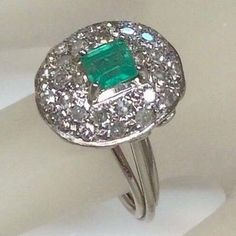 Antique #emerald diamond engagement ring solid #platinum original #circa 1920's,  View more on the LINK: http://www.zeppy.io/product/gb/2/112164790728/