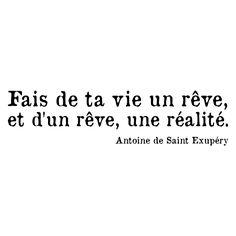 """citation saint exupery """"fais de ta vie un rêve, et d'un rêve, une réalité"""" Make your life into a dream; and from a dream, a reality."""