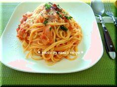 ツナのトマトクリームパスタ #recipe Spaghetti, Ethnic Recipes, Food, Essen, Yemek, Spaghetti Noodles, Meals
