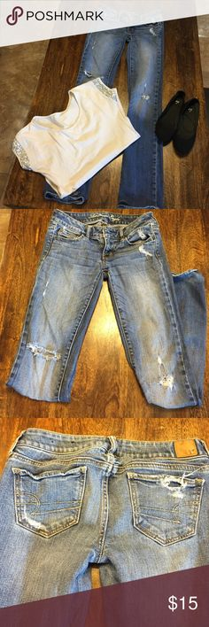 Jeans Great and well loved jeans.  Has holes that they came with.  Super adorable love the fit. American Eagle Outfitters Jeans Straight Leg