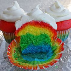 ...rainbow cupcakes (:  Prepare white cake mix then separate it into 5 bowls or cups. Add food coloring to each cup and mix it in (one spoon per cup of batter)! Layer the colors in the cupcake tins and gently tap the pan on a counter a few times before placing it into the oven... it gives the layers cool designs (: follow baking times/ temps on package and frost after cooled!