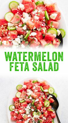 This watermelon salad could not be more refreshing! It pairs sweet melon with salty feta, cucumber, fresh basil and lemon zest. Veggie Recipes, Cooking Recipes, Healthy Recipes, Healthy Meals, Watermelon Cucumber Feta Salad, Suddenly Salad, Couple Cooking, Vegetarian Cookbook, Dinner Salads