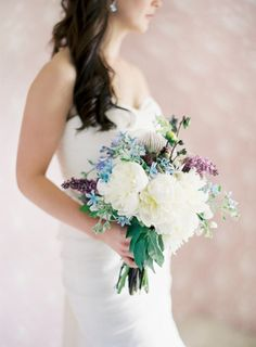 purple, blue and white bridal bouquet with peonies, lilacs and orchids | photo: josevillaphoto.com, floral and event design: joythigpen.com