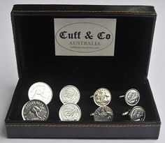 A stylish 4 pair set of our popular Silver Plated Australian Coin Cufflinks is a memorable wedding anniversary gift for men.