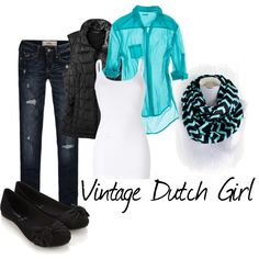 Vintage Dutch Girl Etsy - Teal and Black Flannel Chevron Infinity Scarf outfit