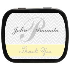 Zig Zag Personalized Wedding Mint Tins, great #weddingfavors or use as thank you ideas! #ediblefavors #monogram