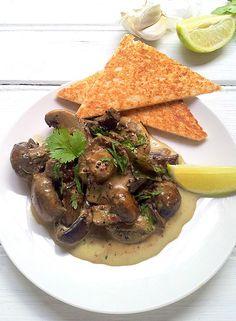 Creamed Curried Mushrooms on Toast
