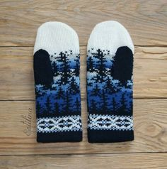 from Anna Linde Double Knitting Patterns, Knitted Mittens Pattern, Fair Isle Knitting Patterns, Crochet Mittens, Knitting Charts, Knitted Gloves, Knitting Socks, Crochet Hats, Norwegian Knitting