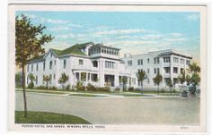 """Period Hotel & Annex Mineral Wells Texas 1941 postcard.  The Period Hotel, at the corner of NW 4th Avenue and 6th Street, was owned and operated by Miss Lizzy More. The Annex is connected to the north.  This photograph shows the Neo-classical building before subsequent remodeling. A picture in A.F. Weaver's """"Time Was in Mineral Wells"""" (on page 103) shows the building after it was altered. The hotel burned, but the Annex still stands, and is known as Town House Apartments."""