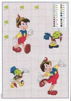 Pinocchio and Jiminy cross-stitch pattern