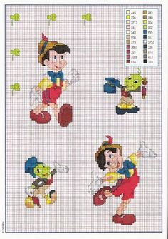 Pinocchio and Jiminy cross-stitch pattern