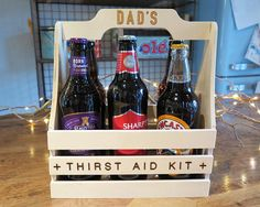 Our personalised wooden beer caddy makes the perfect gift for the beer lover in your life. The wooden caddy can be personalised with any name on the handle (engraved in such a way it gives a unique 3D effect) and features a fun engraved slogan Thirst Aid Kit making it a unique personalised