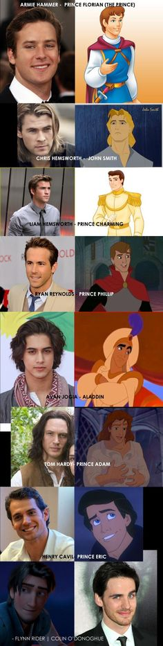 All Disney Guys with their look alike actors! ALL these guys should play the princes they look like! Aladdin is my Disney Prince so. Walt Disney, Disney Pixar, All Disney Movies, Disney And Dreamworks, Disney Love, Disney Magic, Disney Princes Real Life, Disney Stuff, Pixar Movies