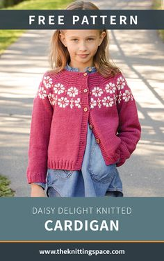 Daisy Delight Knitted Cardigan Craft this dainty floral knitted kid's cardigan ideal for daily wear. This makes for a thoughtful handmade present for a. Kids Knitting Patterns, Knitting For Kids, Easy Knitting, Knitting Designs, Knitting Projects, Knitting Charts, Knitting Stitches, Pullover Design, Sweater Design