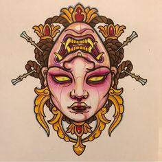 Double face,girl and hannya,flash. Hannya Mask Tattoo, Demon Tattoo, Japanese Tattoo Art, Japanese Tattoo Designs, Body Art Tattoos, Sleeve Tattoos, Frog Tattoos, Mascara Hannya, Tiger Sketch