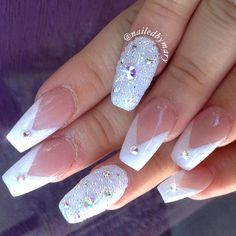 V French Tips. #frenchtips #crystalpixie #swarovskinails #coffinnails #notd #acrylicnails #weddingnails #love