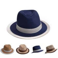 4b1553c1e35 Mens Womens Fedora Two-Tone Outback Hat Derby Panama Straw Fedora Shady T251