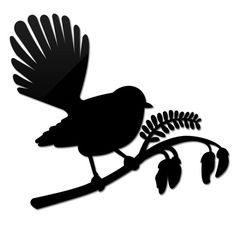 Small Fantail On Kowhai. Like the silhouette style Bird Stencil, Stencil Art, Stencils, Bird Silhouette, Silhouette Design, Tui Bird, Bird Outline, Bird Template, Maori Designs