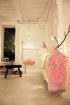 Branch for clothes rail - PRIMO, if my daughter didnt have a closet I would do use this idea!Dress ups?