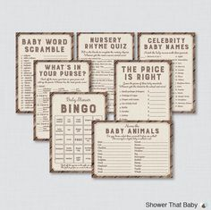Rustic Baby Shower Games Package Seven by ShowerThatBaby on Etsy
