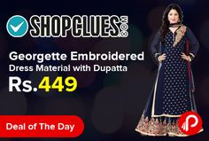Shopclues #DealofTheDay is offering 78% off on Varanga Georgette Embroidered Navy Blue Dress Material with Dupatta KF-SS16BSRTS2003 just Rs.449. Poly Georgette Fabric. Shopclues Coupon Code – SCOIKAKSO7  http://www.paisebachaoindia.com/georgette-embroidered-dress-material-with-dupatta/