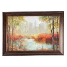 Enjoy a colorful view of the city with our hanging framed artwork. Displaying a serene scene of birch trees around a lake, it creates an attractive focal point for any space. Christmas Decorations Clearance, Clearance Rugs, Hanging Frames, Gift Store, Fall Halloween, Framed Wall Art, Wall Decor, Scene, City