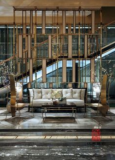 Metallic details on contemporary hotel design