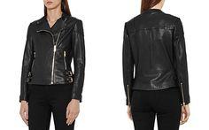 REISS Shelby Leather Biker Jacket