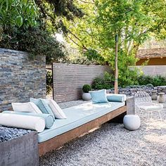 Extra-long daybed in the garden