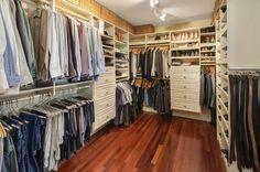 Contemporary Closet with Crate & Barrel Sedona Lidded Rectangular Tote, Built-in bookshelf, flush light, Hardwood floors