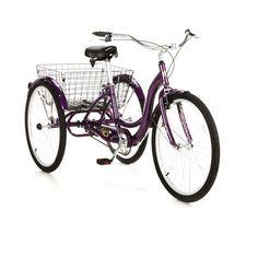 purple, tricycle, basket
