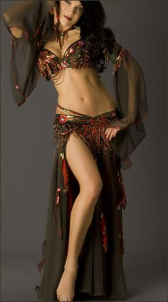 Olive Green and Red Bella Bellydance Costume, as worn by Bellydancer Sandra
