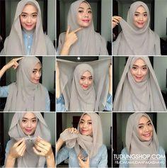 Hijab tutorial ♥ It looks so intricate but I love it. Square Hijab Tutorial, Hijab Style Tutorial, Scarf Tutorial, Easy Hijab Tutorial, Islamic Fashion, Muslim Fashion, Hijab Fashion, Fashion Outfits, Hijabs