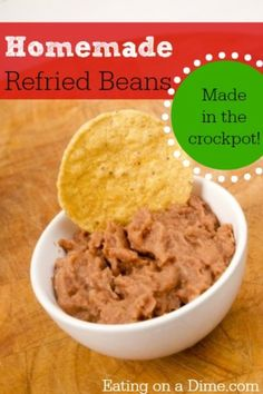 Learn How to Make Your own Refried Beans  by cooking them in your crockpot. Instead of paying $1 per can, save 75% by making your own!  http://eatingonadime.com/how-to-make-your-own-refried-beans/