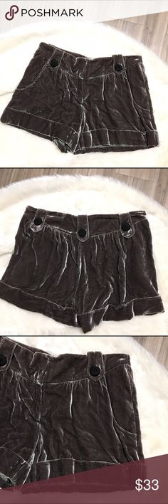 To The Max Velvet Shorts Gray Brown Taupe Super soft velvet shorts.  82% rayon, 16% silk.  Clasp and zipper closure.  Loose fit through thighs.  Button detailing around waistband.  Cuffed hem.  Excellent condition. To the Max Shorts