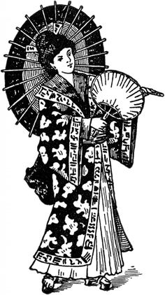 Vintage Geisha Image -  Featured is an old black and white illustration of a Geisha Lady holding a Parasol and a Fan. This graphic is from a rare early 1900's Printer's book.